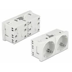 DELOCK διπλό module πρίζας ρεύματος Easy 45 81325, 45°, 45x45mm, 5τμχ
