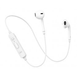 USAMS bluetooth earphones BHULN01, LN series, BT 4.2, λευκό