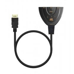 POWERTECH HDMI Switch 3x1 pigtail, 4K x 2K & 3D, 0.50m, Black
