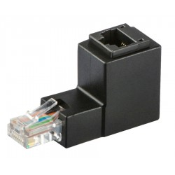POWERTECH Adapter RJ45 male σε RJ45 female 90° CAB-N127, μαύρο