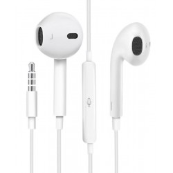 USAMS earphones με μικρόφωνο EP-22, 3.5mm, 14mm, 1.2m, λευκά